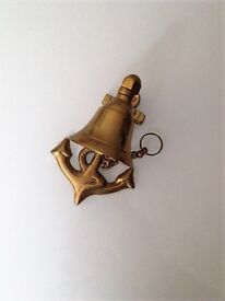 Solid brass anchor and bell ornament - HARROW