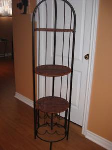 Étagère décorative sur pied, osier/métal, avec casier/rack à vin
