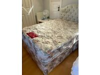 Double Bed with 4 Drawer Base, Mattress and headboard