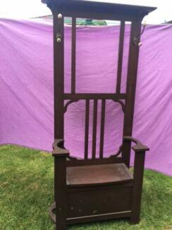ANTIQUE HALL STAND with coat hooks and box seat