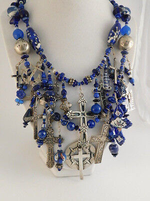 STERLING CROSS TREASURE NECKLACE STATEMENT BEADS GEMSTONES 215 GRAMS MEXICO
