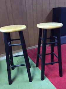 Two mint solid wood barstools