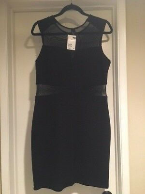 H&M Little BlackRibbed Mesh Sleeveless Cocktail Club Dress Size Large NWT