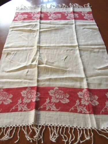 ANTIQUE RED & WHITE JACQUARD LINEN DAMASK TOWEL