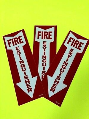 Fire Extinguisher Arrow Signs Self-adhesive Vinyl  4 X 12 -lot Of 3