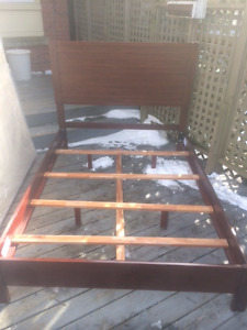 Gently used double bed mattress, boxspring & solid wood bedframe