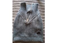 Grey sweater/jumper for small dog (chihuahua/jack russell/pug etc).