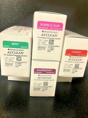 5 Sodium Fluoride Varnish Box Of 50 4 Flavors Mint Bubble Gum Cherry Raspe