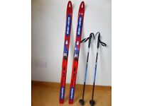 Child's Norwegian cross country skis with sticks