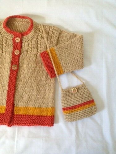 sweater girls 3-4 years new cardigan & bag. hand knitted color beige-gold-orange