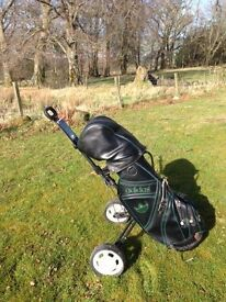 Full Set Donnay Graphite Shaft Golf Clubs & Full Size Addidas Bag & MacGregor Trolley