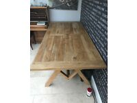 210cm contemporary solid oak dining table.