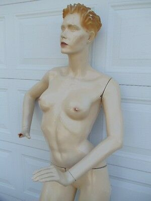 Vintage Patina V Female Mannequin Full Size Body With Molded Hair