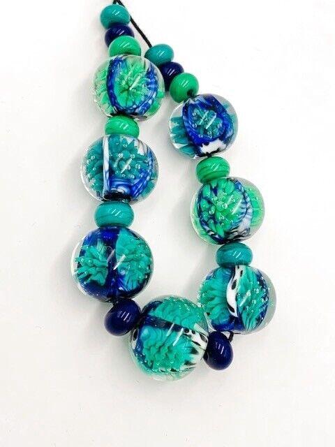 ANASTASIA HANDMADE LAMPWORK ROUND GLASS BEADS BLUE GREEN WHITE BLACK