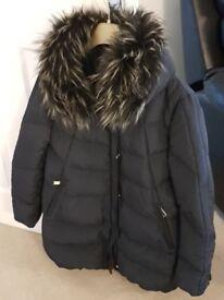 Zara navy jacket with detachable fur collar (size large)