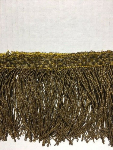 Rare French Antique 19th Century Gold Metallic Trim Fringe Over Silk Thread
