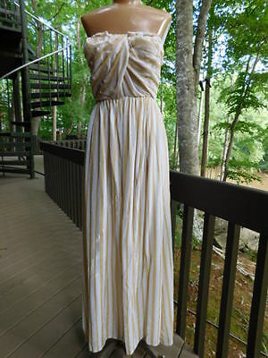 LINE & DOT STRAPLESS toga MAXI DRESS long full length GOLD beige NEW/TAGS s/M](Gold Toga Dress)