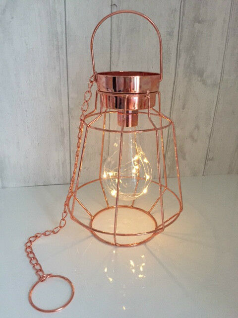 Copper Cage Hanging Pendant Industrial Light Lantern Battery Operated EBay