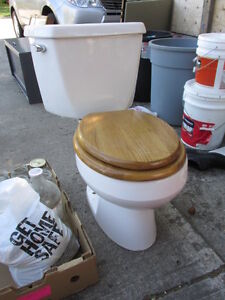 Toilet and real oak seat