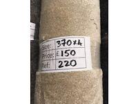 Deep pile beige carpet remnant - 3.70x4m - £150 - Ref 220