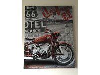 Route 66 Motorbike America Canvas