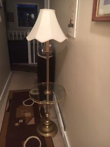 Lamp with glass shelf