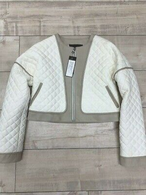 BCBG MAXAZRIA Women's Ivory & Taupe Quilted Cropped Faux Leather Jacket