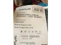 Gilbert O'Sullivan ticket Oran Mor 13/08/18. Face Value