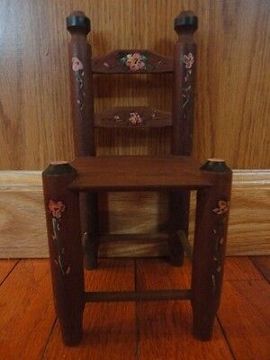 Wooden Doll Chair Decorative Floral  Hand Painted 8.5 in Tall Vintage