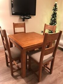 Toulouse Flip Top extending table and 4 Solid Wood Chairs, immaculate. Harvey's price £799
