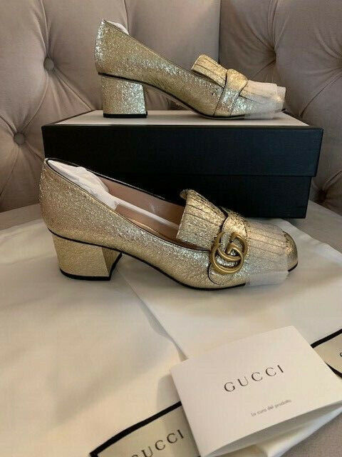 New Gucci Women GG Marmont 55mm Leather Loafer Pump Platino Gold Sz 38 NIB! $830