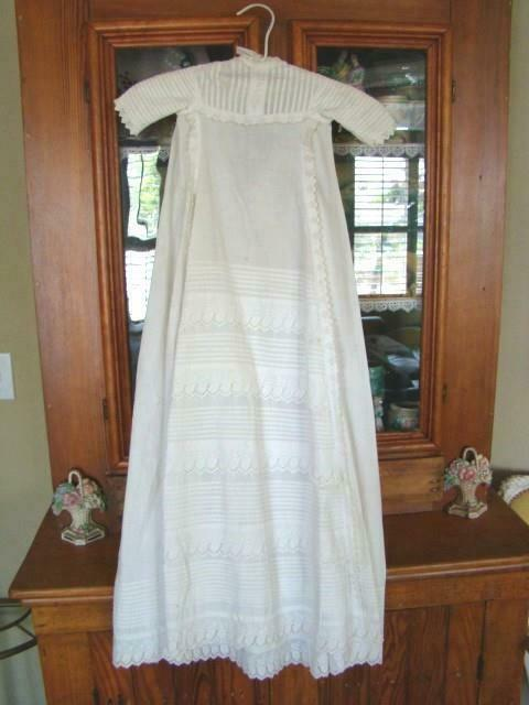 Beautiful Antique Crisp Cotton Tucked Long Sleeve BABY GOWN, Baptism Christening
