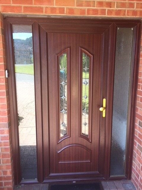Modern UPVC external door with side screens very good condition | in on