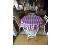 Circular Cottage Style 90 cm Table with 4 chairs