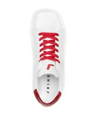 NEW JOSHUA SANDERS WOMEN SQUARRED SHOES SNEAKERS WHITE RED LACE UP NIB SIZE 7