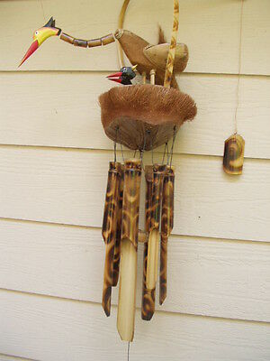 Bobbing Bird and 2 Chicks Coco Nest Fireburnt Swirl Bamboo Wind Chimes FREE SHIP