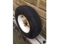 TRAILER WHEEL 400 x 8 WITH NEARLY NEW TYRE.
