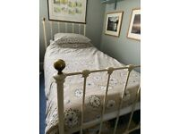Feather and Black cream single bed frame and mattress