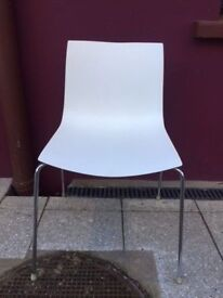 Arper stackable canteen chairs in white