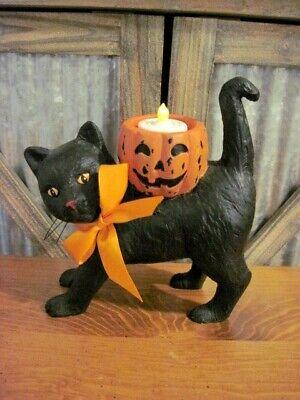 Bethany Lowe NEW Halloween Black Cat Figure Votive Holder (Retired)