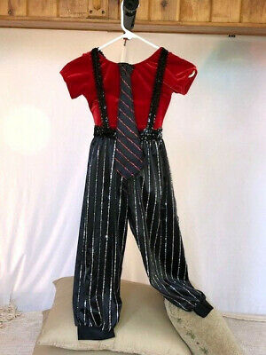 Red Velvet Leotard, Pinstripe Knickers & Tie Character - Kostüme Knickers