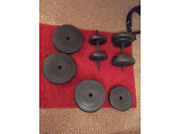 60 kg barbell dumbell set- weights training. spinlock collars