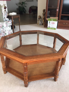 Oak with glass coffee table