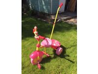 In the Night Garden Upsy Daisy Trike,3D character on front,rear bucket, removable parent handle