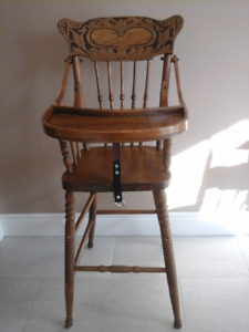 Antique Press-Back Child's High Chair