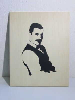 Painting with Figure Bust Freddie Mercury Wooden Inlaid by Hand