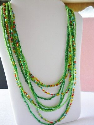 Vintage 3 Strands of  Green Seed Beads on Rummage
