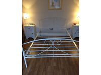 White metal double bed frame in great condition