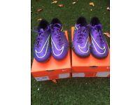 2 pairs of NIKE Hypervenom Foorball boots. 1 pair Football studs, 1 pair ASTRO Turf boots