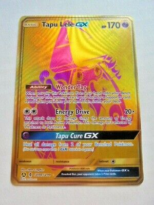 Pokemon Gold Tapu Lele GX Full Art SV94 Hidden Fates Shiny Vault Secret Rare